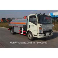 China Sinotruk Howo 4x2 Fuel Tanker Truck / Gas Diesel Refilling Truck 8 - 14cbm on sale