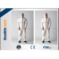 Buy cheap Microporous Disposable Hooded Coveralls Breathable White With Shoe Cover Anti - Dust from wholesalers