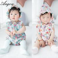 Buy cheap Angou baby Girls Print Flower Rompers Cute Floral Jumpsuits Clothing Sets Romper+Hat 2 pcs from wholesalers