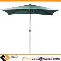 Buy cheap Rectangular Market Outdoor Table Patio Umbrella with Push Button Tilt and Crank Dark Green product