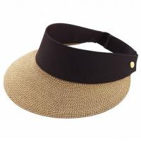 Buy cheap Packable Roll Up Wide Brim Ladies Straw Visor Hats For Outdoor Protecting from wholesalers