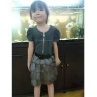 Short Sleeve Baby / Little Girl Summer Dresses Knit Demin Top Chiffon Skirt