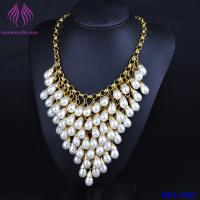 Buy cheap Crystal Luxury Multi Layer String Collar white Pearl Chunky Choker Necklace from wholesalers