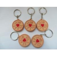 Buy cheap Promotional Cute Chocolate Cookies Silicone Rubber PVC Keychains With Metal Ring , Best Christmas Gift product
