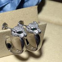 Emeralds Cartier Diamond Earrings , 18K White Gold Diamond Earrings With Panther Shape