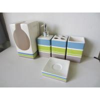 Buy cheap Stripe Pattern 5 Piece Ceramic Bath Set , Bathroom Bath Accessories With Toilet Paper Holder from wholesalers