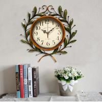 Buy cheap Large Beautiful Antique Iron Olive Leaf Decorative Clear Glass Green  Decorative Wall Clock from wholesalers