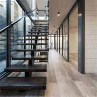 Buy cheap Professional DIY Prefabricated Straight Stairs Wood Treads Stainless Steel Stringer Staircase Designs from wholesalers