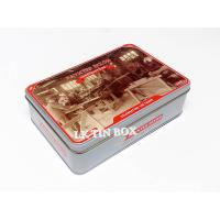Buy cheap Hinged Lid Rectangular Tin Box 3D Emboss Anzac For Biscuit Storage Container from wholesalers