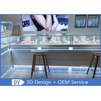 Buy cheap Luxurious Store Jewelry Display Cases / Beige Painting Finished Gold Shop Counter from wholesalers