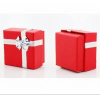 Set up red jewelry paper boxes silver ribbon butterfly lid for Small cardboard jewelry boxes with lids