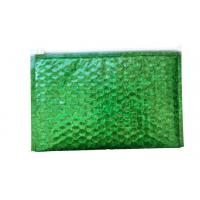 Buy cheap Waterproof Zipper Bubble Bags / Green Metallic Glossy Holographic 300x250mm Ziplock Foil Bubble Mailers from wholesalers