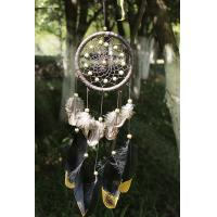 China Wind Chimes Indian Style Feather Leather Gold Dream Catcher for Home Decor Hanging Decoration Nice Gift on sale