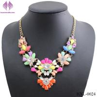 Buy cheap Exaggerated female rainbow resin flower necklace personality fresh flower exaggerated necklace from wholesalers