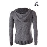 Buy cheap Grey Wool Mens Knit Cardigan Sweater Hoodie Open Front Long Sleeve For Winter from wholesalers