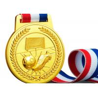Buy cheap Soft / Hard Enamel Custom Sports Medals , Zinc Alloy Football Medals And Ribbons from wholesalers