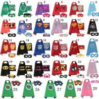 Buy cheap Halloween Superhero capes Double sides Satin Fabric super hero cape + mask party supplies for Children's birthday party from wholesalers