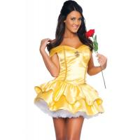 Buy cheap Wholesale Fairy Tale Costumes Yellow Satin Princess Beauty Halloween Sexy Costume for Christmas Party XXS to XXXL from wholesalers