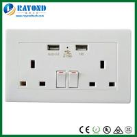 Buy cheap 5V/2400mA Double USB Charger 2 Gang UK Wall Socket from wholesalers