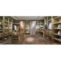 Quality Villa house wardrobe closet in light luxury design Built-in cabinets for cloth and jewelry display wood working counters for sale