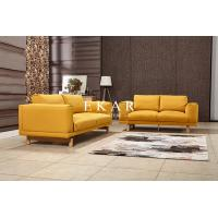Buy cheap Wide Couch Set Pine Wood Yellow Fabric Sofa Set from wholesalers