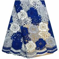 Buy cheap Royal blue water soluble high liturgical guipure lace dress fabric for people from wholesalers