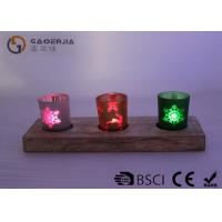 Buy cheap glass candle holder with laser picture with wooden base and LED tealight from wholesalers