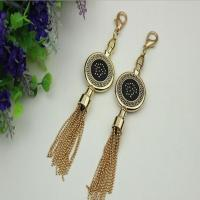 Buy cheap Novelty DIY high-grade bag hardware accessories light gold drip glue hanging charm with tassel from wholesalers
