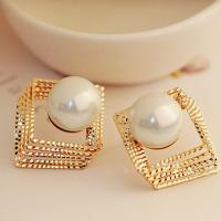 Buy cheap Luxury jewelry gold silver plated big pearl drop dangle earring for party and banque from wholesalers