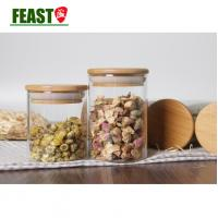 Buy cheap Small glass jar with bamboo cap kitchen glass storage jar food storage jar for candy from wholesalers