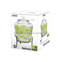 Buy cheap Handmade 9.1L large glass drink dispenser with stand , tap / wedding beverage dispenser product
