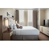 Buy cheap laminated Oak wood Hotel bedroom Furniture sets Tall headboard with Fabric upholstered padded and TV units Contemporary product