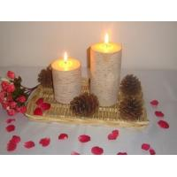 Buy cheap 3X43X6 inch 100% natural bark decor candle with  growth ring from wholesalers