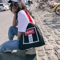 Buy cheap New Korean fashion personality school style contrast color canvas bag women's portable shoulder bag simple fashion bag from wholesalers