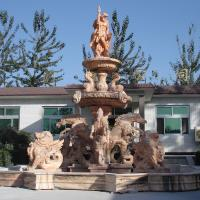 Buy cheap Antique Big Pool Marble Stone Garden Fountain with Poseidon Horses and Lions Statues from wholesalers