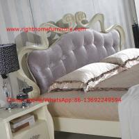 Buy cheap Flowers Headboard Wooden Bed in Neoclassical fabric design for luxury multiple from wholesalers