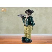 Buy cheap Antique Dog Figures Polyresin Statue Figurine Resin Dog Holding Tray Sculpture Multi Color from wholesalers