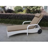 Buy cheap Comfortable All Weather Mobile Rattan Sun Lounger With Wheel from wholesalers