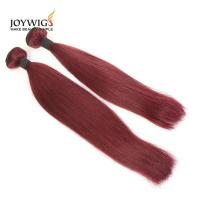 Buy cheap Qingdao big sales 10A Grade Unprocessed Brazilian Virgin Human Hair Wine red color silk straight Hair Weft from wholesalers