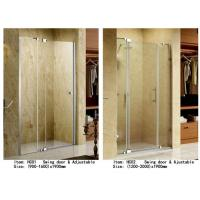 Buy cheap 3 Panels Straight Frameless Glass Shower Doors Hinge Opening Style With Adjustable Support Bar from wholesalers