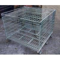 Buy cheap Welded steel lockable wire mesh pallet cage with cover galvanized customized size storage cage from wholesalers