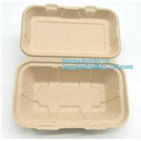 Buy cheap Compartment hinged container sugarcane bassage pulp food serving box 750ml bassage take out container bagplastics packa from wholesalers