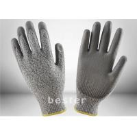 Buy cheap HPPE Anti Cut 5 Level Kitchen Safety Cutting Gloves PU Coated Enhanced Tactility from wholesalers