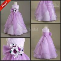 Buy cheap CUSTOM Made Hot Cute Floor Length A-line Purple Flower Girl Dresses Girls Pageant from wholesalers