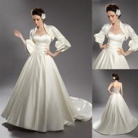 Buy cheap A Line 2 pieces Detachable 3/4 Sleeve Satin Women Wedding Dresses with Ruffled Jacket from wholesalers