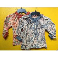 Buy cheap Rust Circles Colorful Girls Long Sleeve Top , Children Girls Clothes Frills Cuff and Neck from wholesalers