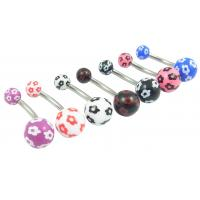 Buy cheap Steel Navel Ring with Flower Printed Acrylic Balls from wholesalers