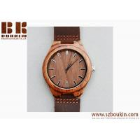 Buy cheap Mens Wooden Watches Brown Cowhide Leather Strap Casual Watch for Groomsmen Gift with Box from wholesalers