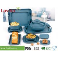 Buy cheap Food Safe Durable Bamboo Fiber Dinnerware , Square Navy Blue Bamboo Tableware Set from wholesalers