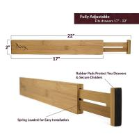 Buy cheap adjustable bamboo wooden silverware drawer organizers drawer dividers from wholesalers